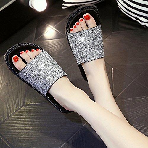 Y Sandalias Chanclas E Gruesa Informal Flops Golden Sequined Planas Cómodo Sandalias WHLShoes Para Con Moda De Flip Sandalias Suela Con Mujer Sequined Femenina wZpFE5q
