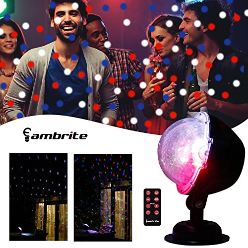 Outdoor Rotating Pub Light - EAMBRITE Multi LED Activated Party Lights With Remote and Base For Wedding Show Club Pub Multi Function Rotating Falling Snow Projector For Xmas Moving Points Landscape Lights For Home Yard Garden