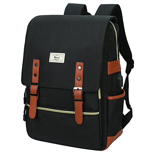 Unisex College Bag Fits up to 15.6'' Laptop Casual Rucksack Waterproof School Backpack Daypacks USB Charging Port (Black) by Ronyes