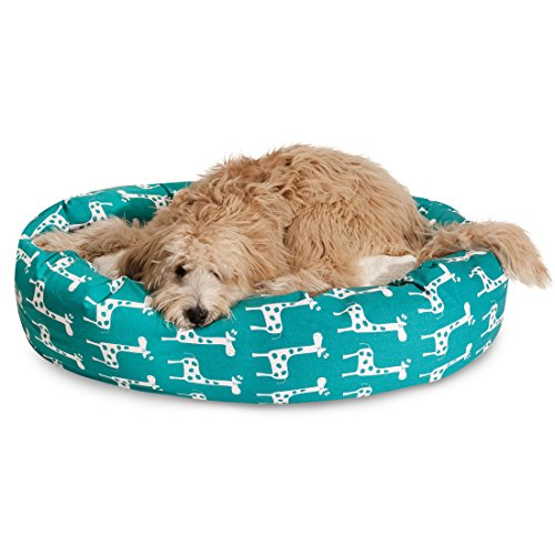 """Majestic Pet 24"""" Stretch Turquoise Sherpa Bagel Bed"""