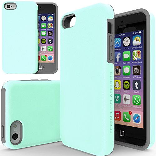 iPhone 5c Case, TEAM LUXURY [Double Layer] Turquoise Defender Series [Shock Absorbing] Apple iPhone 5C Case - Mint/ Gray