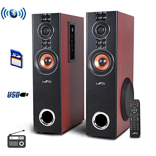 2.1 Channel Tower Speaker (beFree Sound BFS-T110W 2.1 Channel Powered Bluetooth Dual Wood Tower Speakers with Optical Input)