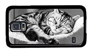 Hipster Samsung Galaxy S5 Case poetic covers cute sleeping cat PC Black for Samsung S5
