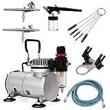 Goplus Airbrush Kit Air Compressor Set w/Cleaning Kit 3 Guns 0.2mm 0.3mm Air Brush for Model Hobby Painting Body Tattoo