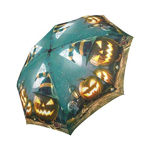 InterestPrint Halloween Pumpkin Head Jack Lantern Skull 100% Polyester Pongee Windproof Fabric Travel Umbrella, Compact Automatic Open and Close Folding UV and Rain Umbrella for $<!--$25.99-->