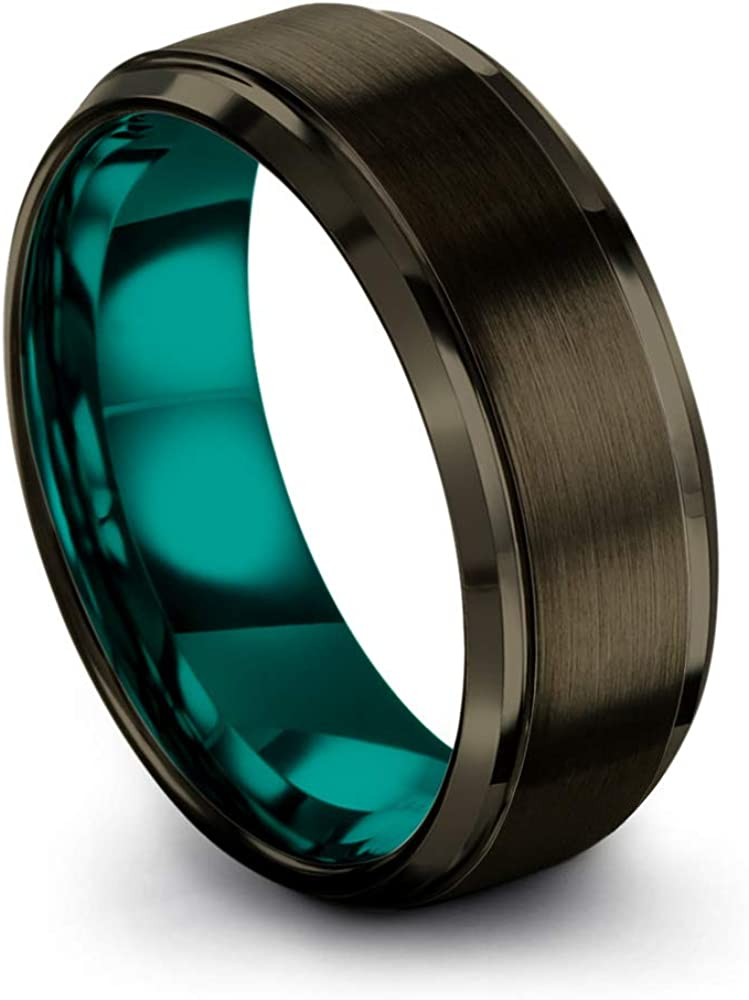 Chroma Color Collection Tungsten Carbide Wedding Band Ring 8mm for Men Women Green Red Blue Purple Black Gunmetal Copper Fuchsia Teal Interior with Step Edge Brushed Polished