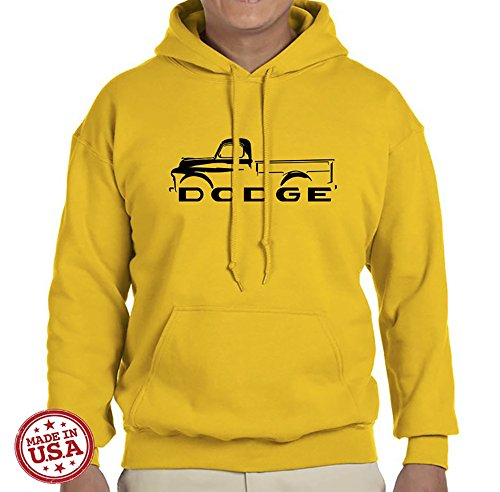 1948-53 Dodge Pickup Truck Classic Outline Design Hoodie Sweatshirt small yellow