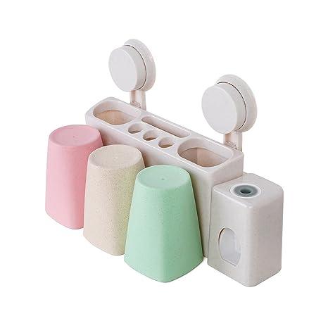 techme automático dispensador de pasta de dientes cepillo de dientes Holder 3 tazas con Super succión