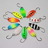 Catapong Fishing Lures for Bass 10pcs Spoon Lures Colorful With Single Hook Metal Fishing Lure Ideal For Trout, Black fish, Grouper, Catfish, Opsariichthys, Cutler, Mandarin and other predatory fish