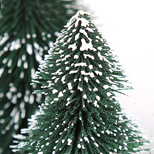Highpot Mini Christmas Tree Green Sisal Snow Frost Trees Bottle Brush Trees Tabletop Christmas Trees for DIY Room Decor Table Top Decoration (7.9 inches) by Highpot (Image #5)