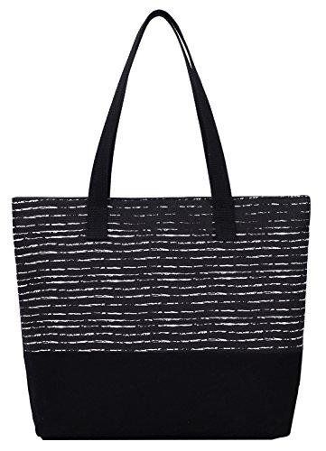 ArcEnCiel Women's Canvas Tote Bag (Horizontal Style) (Bag Shopper Zip)