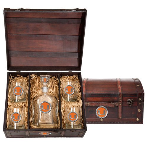 Miami Hurricanes Capitol Decanter Wood Chest Set by Heritage Pewter