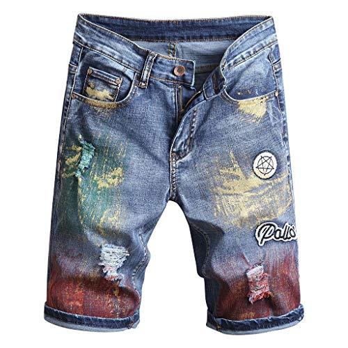 URIBAKE ✔ Men's Demin Shorts Slim Fit Stylish Frayed Holes Patchwork Colorful Print Plus Size Short Jeans Blue ()