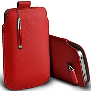 ONX3 Sony Xperia ZR Leather Slip cuerda del tirón de la PU de protección en la bolsa Quick Case Desc y Mini capacitivo Retractabletylus Pen (Rojo)