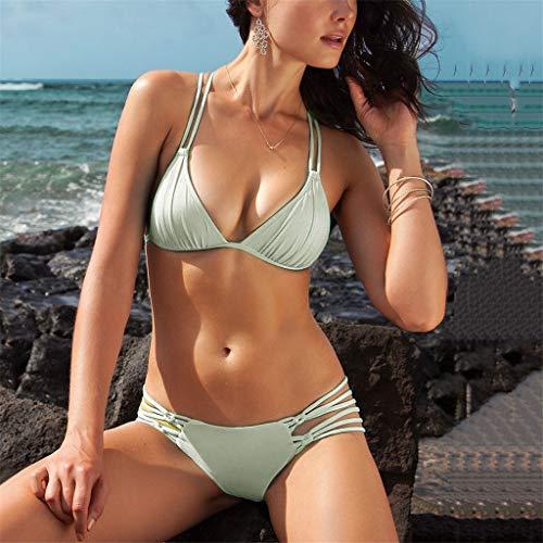 Damen Push-up gepolsterte BH 2tlg Bikini Sets Badeanzug Bademode Schwimmanzug