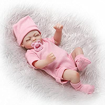 Pinky Cute 10inch 26cm Mini Full Body Hard Vinyl Silicone Reborn Baby Girl Doll Newborn Dolls Magnetic Mouth Xmas Birthday Present: Toys & Games