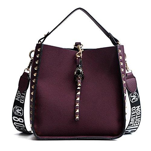 DHFUD Bolso De Hombro De Las Mujeres Moda Casual Color Sólido Purple