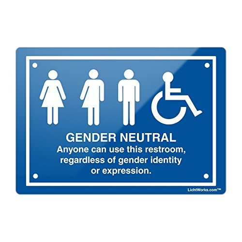 Bathroom Metal Sign Gender Neutral with info and Handicap, 18' x 12' Inches Aluminum Metal Sign by Valentine Herty 18 x 12 Inches Aluminum Metal Sign by Valentine Herty