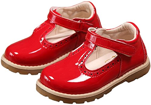 PPXID Girl's British Retro T-Bar Princess Oxford Shoes(Toddler/Little Kid)-Red 11 US (Red Mary Janes For Girls)