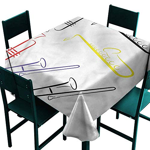 (DONEECKL Polyester Tablecloth Saxophone Performance Jazz Band Indoor Outdoor Camping Picnic W60 xL60)