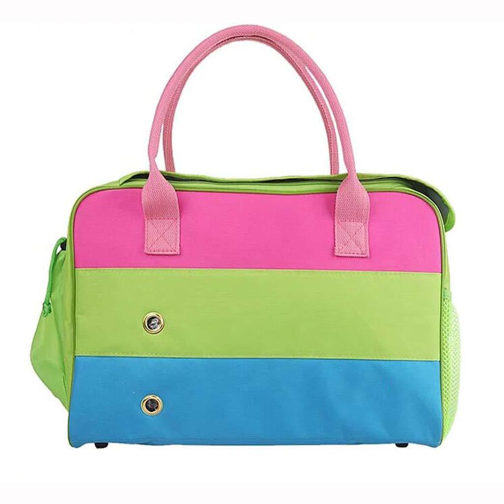 S FJH Pet Bag Dog Backpack Dog Bag Teddy Outing Bag Portable Dog Bag Cat Bag Tricolor Bag (Size   S)