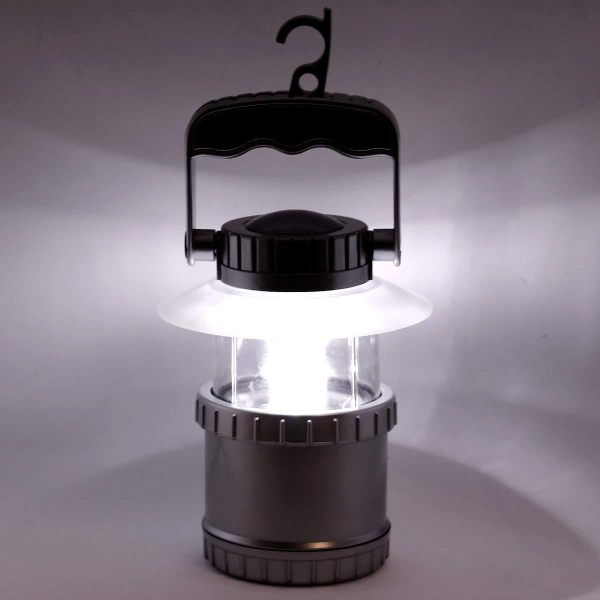 TRONJE LED Campinglampe Zeltlampe /Ø13x26cm Notfall-Lampe Gartenleuchte Sturm-Laterne Silber