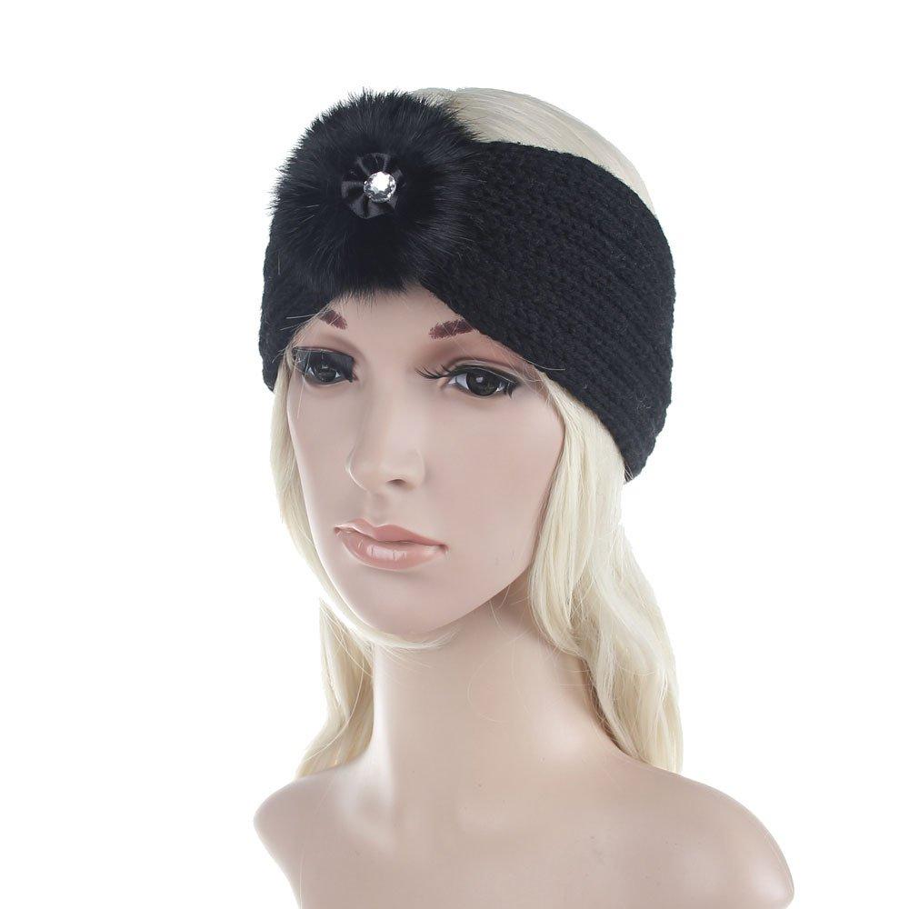 cf7c128ca35ee 60%OFF Women Winter Warm Fur Pom Pom Stretch Turban Soft Knit Headband Beanie  Crochet
