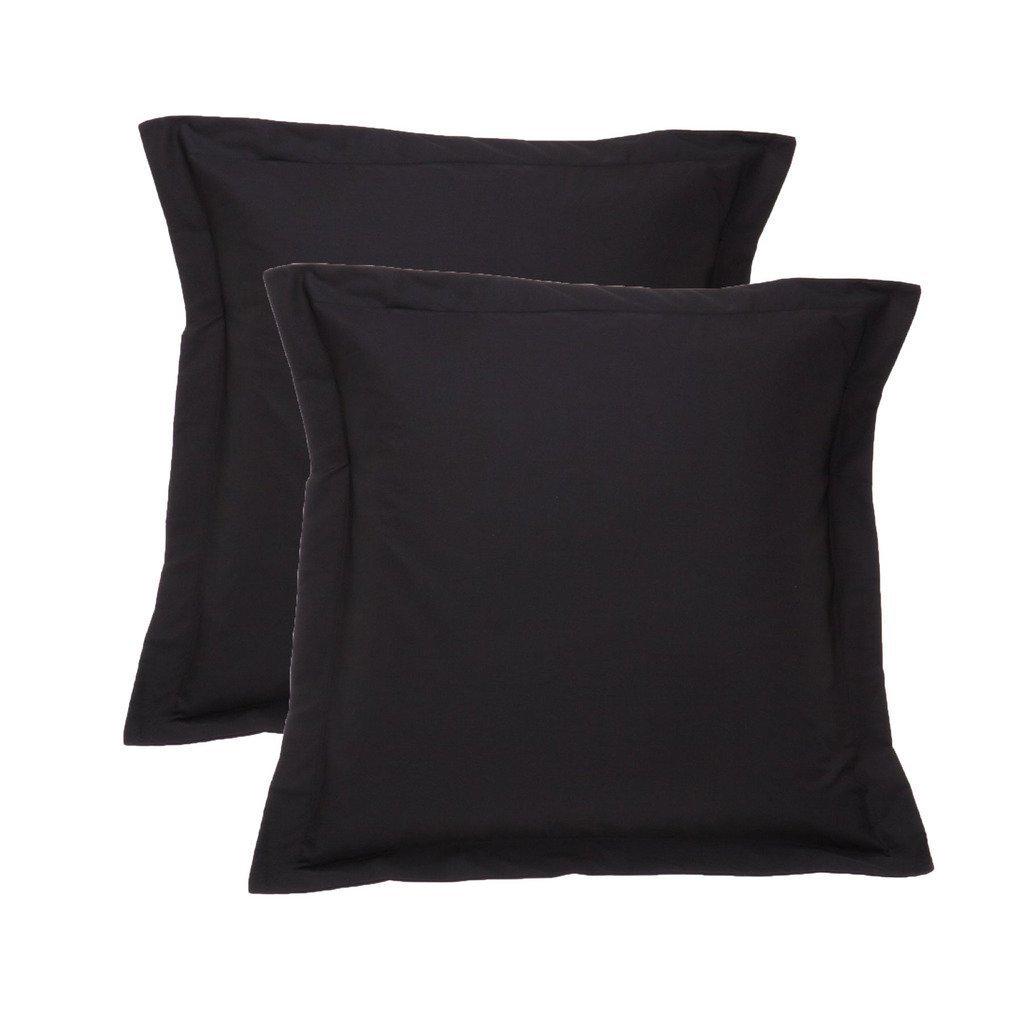 White House Black Pillow Shams Set of 2 - Luxury 580 Thread Count 100% Egyptian Cotton Cushion Cover Euro Size Decorative Pillow Cover Tailored Poplin European Pillow Sham (2 Pack, Euro 28x28)