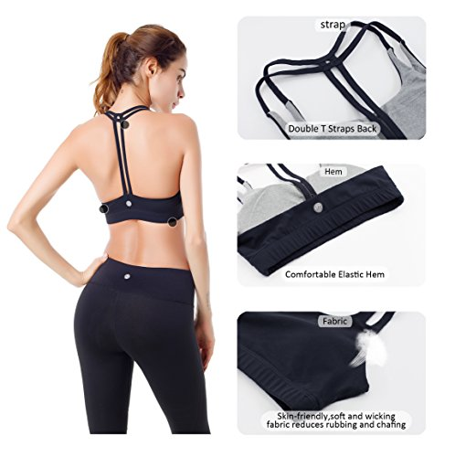 b301aec320d7d Women s Yoga Bra Light Support Cross Back Wirefree Pad Soft - Import It All