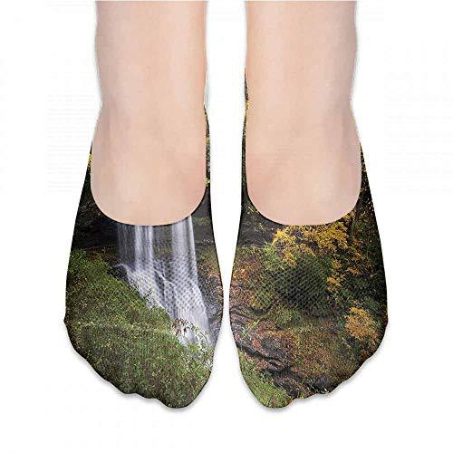 Women Summer Cute Socks Waterfall,Autumn Season Fall Leaves,socks men pack low cut