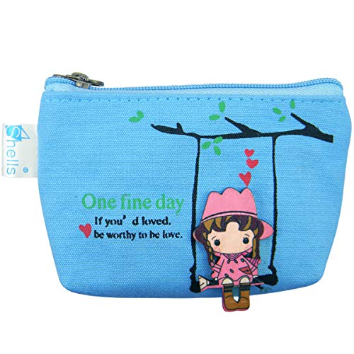 Shells Blue Color Soft Multi-functional Key Bag Card Bag Coin Purse USB Cable Bag