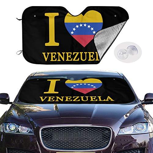 Love Heart Flag Venezuela - HZWMKJ Car Windshield Sun Shade SUV Trucks Automotive Minivan UV Sun Heat Reflector Visor Protector Front Window Sunshade-I Love Heart Venezuela Flag Distressed