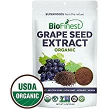 Biofinest Grape seed Extract Powder - 100% Pure Freeze-Dried Antioxidants Superfood - USDA Organic Vegan Raw Non-GMO - Boost Immunity Skin Health - For Smoothie Beverage Blend (4 oz Resealable Bag)