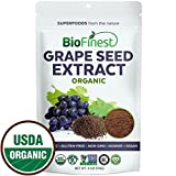 protein powder grape - Biofinest Grape seed Extract Powder - 100% Pure Freeze-Dried Antioxidants Superfood - USDA Organic Vegan Raw Non-GMO - Boost Immunity Skin Health - For Smoothie Beverage Blend (4 oz Resealable Bag)