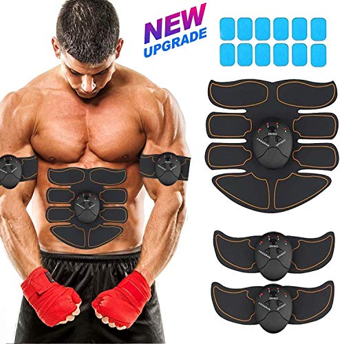 OTAN Abdominals Stimulator,Ultimate Ab Trainer Muscle Stimulator,Flex Ab Belt and Abs Stimulator for Men/Women,with 12 Bonus Gel Pads,Fat Burning Slimming Workout Gym Equipment at Home/Office – Black