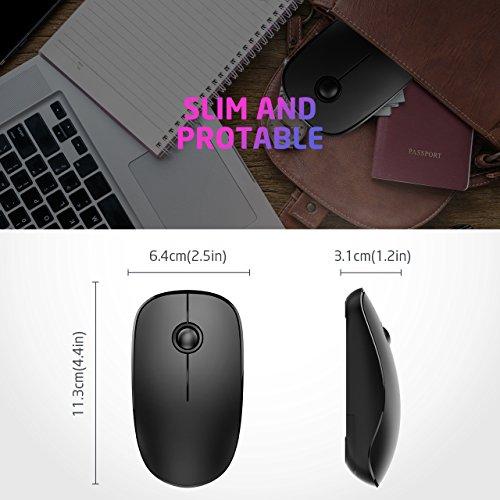 VicTsing Wireless Mouse Slim, mouse para computadora con clic silencioso, mouse USB 1600 DPI para computadora portátil, PC, tableta, computadora y Mac, negro