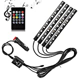 Car Interior Lights - SurLight 4pcs 36 LED DC 12V Multicolor Music Car LED Strip Light LED Under Dash Lighting Kit with Sound Active Function and Wireless Remote Control, Car Charger Included