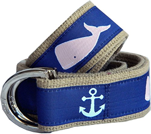 - No27 Women's Whale and Anchor Nautical Belt Canvas Belt Large Whale Anchor Ribbon on White (Small, Khaki)