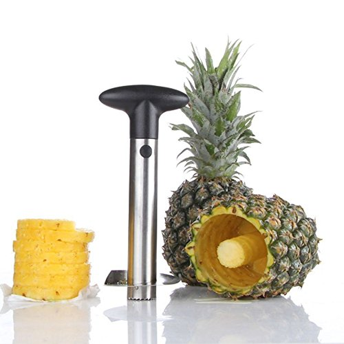 LINFON Pineapple Corer Cutter Slicer Stainless Steel Wedger Dicer Peeler Fruit Tool Cut Pineapple Quick And Easy Without A Knife … (Cor Fruit Bowl)