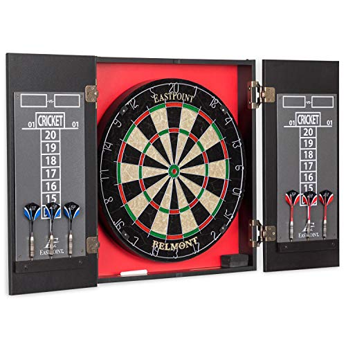 EastPoint Sports Belmont Bristle Dartboard and Cabinet Set - Features Easy Assembly - Complete with All - Cabinet Complete