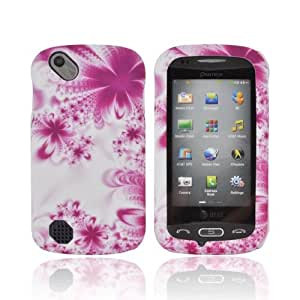 For Pantech Laser P9050 Purple White Flowers Hard Rubberized Snap On Shell Case Cover