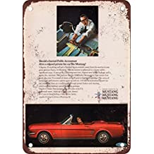 1966 Ford Mustang Convertible Vintage Look Reproduction Metal Tin Sign 12X18 Inches