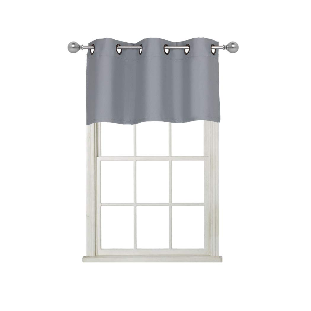 Home Queen Grommet Top Blackout Curtain Valance Window Treatment for Living Room, Short Straight Drape Valance, Set of 1, 37 X 18 Inch, Solid Grey