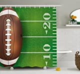 Lunarable Boy's Room Shower Curtain, American Football Field and Ball Realistic Vivid Illustration College, Fabric Bathroom Decor Set with Hooks, 75 Inches Long, Green Brown White