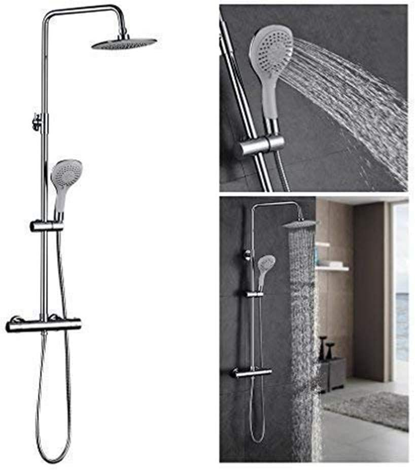 FChome Bathroom Rain Mixer Shower Combo Set,Wall Mounted Adjustable Slide Bar Rainfall Shower System with 8 Inch Shower Head,Chrome