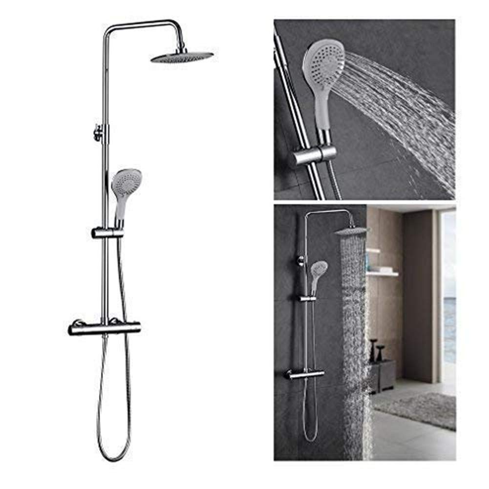 FChome Bathroom Thermostatic Rainfall Shower Set,Rain Mixer Shower Combo Set Wall Mounted Height Adjustable Head Shower System,Chrome