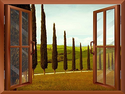 Tuscan Countryside with Cypress and Meadow Removable Wall Sticker Wall Mural