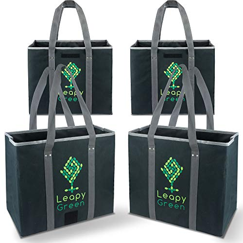 Reusable Grocery Shopping Collapsible Box Bags (Set of 4) Designed To Fit Supermarket Trolley Carts - Eco Friendly, Multi Size Premium Quality Heavy Duty Box-Bags by Leapy ()