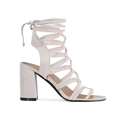 c899de90d00 Womens Lace Up Curved Cut Out Chunky Block Heels Dusky Grey Faux Suede 7