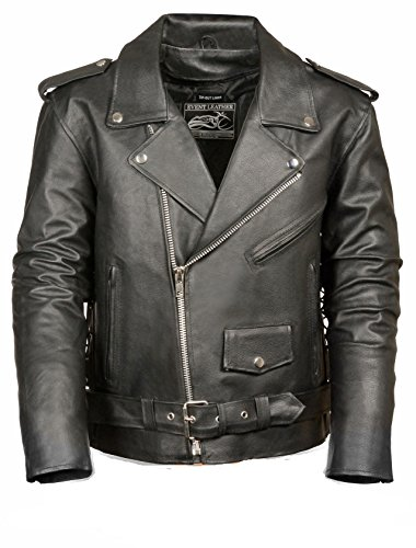 The Bikers Zone- Mens Basic Side Lace Cowhide Leather Motorcycle Jacket (Black, L)